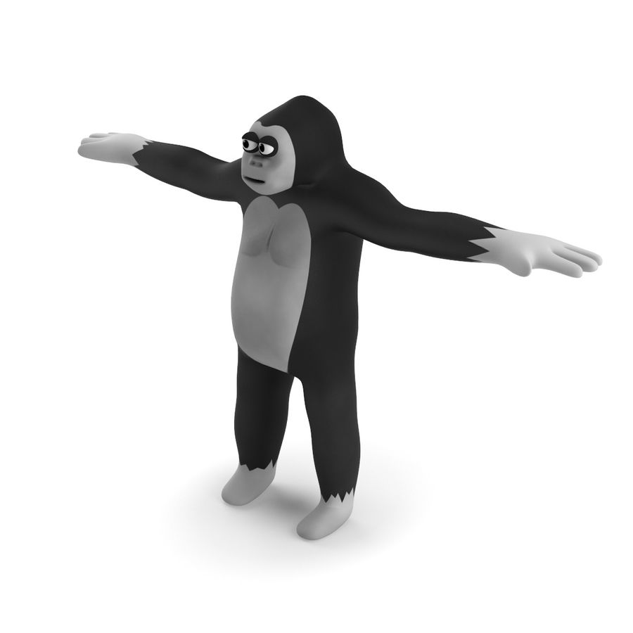 Cartoon Gorilla - RIGGED royalty-free 3d model - Preview no. 3