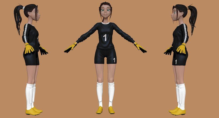 Cartoon Woman Soccer Goal Keeper Sculpt royalty-free 3d model - Preview no. 2