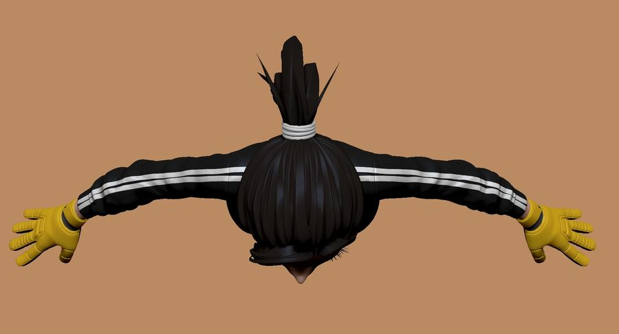 Cartoon Woman Soccer Goal Keeper Sculpt royalty-free 3d model - Preview no. 8