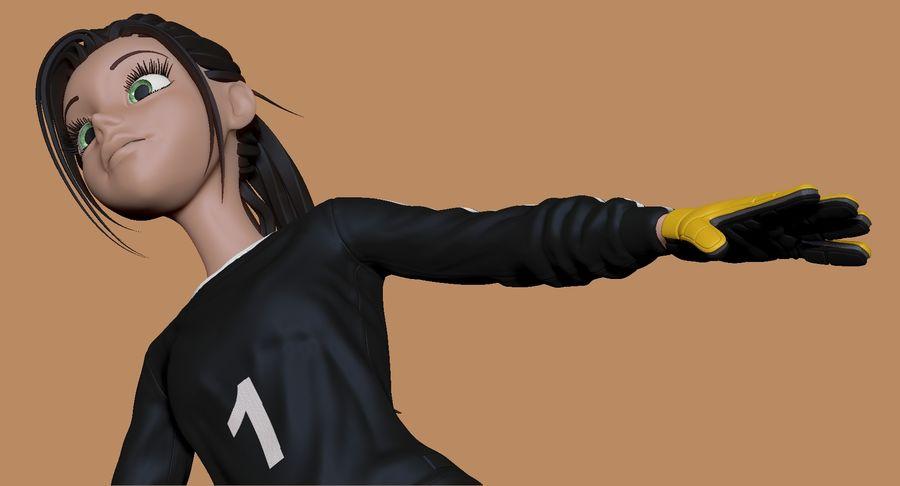 Cartoon Woman Soccer Goal Keeper Sculpt royalty-free 3d model - Preview no. 9