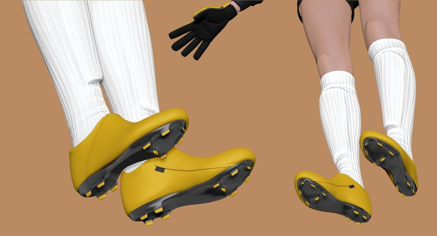 Cartoon Woman Soccer Goal Keeper Sculpt royalty-free 3d model - Preview no. 13