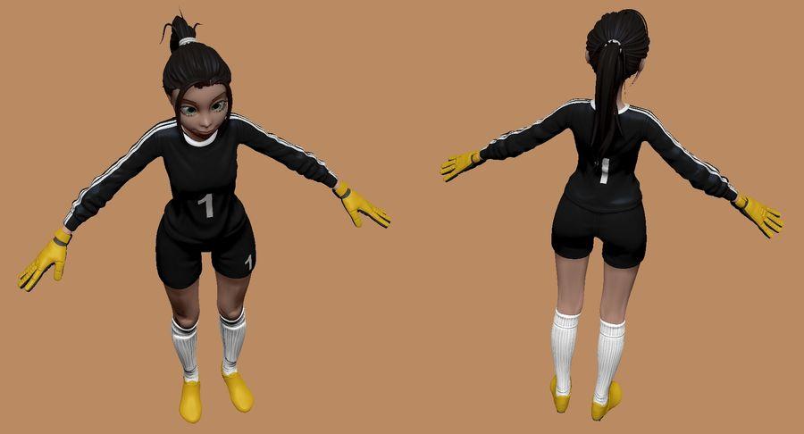 Cartoon Woman Soccer Goal Keeper Sculpt royalty-free 3d model - Preview no. 4
