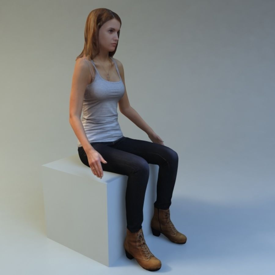 woman_sit royalty-free 3d model - Preview no. 3