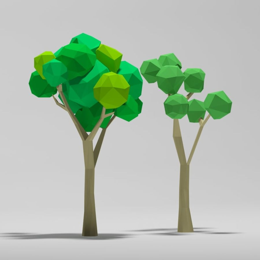 Cartoon alberi di poli basso royalty-free 3d model - Preview no. 1