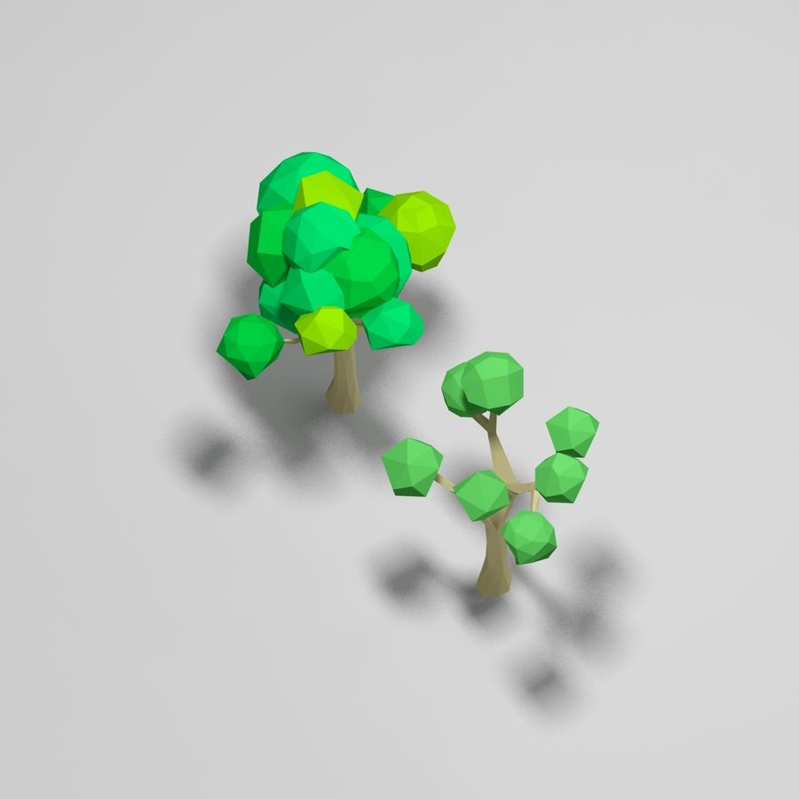 Cartoon alberi di poli basso royalty-free 3d model - Preview no. 6