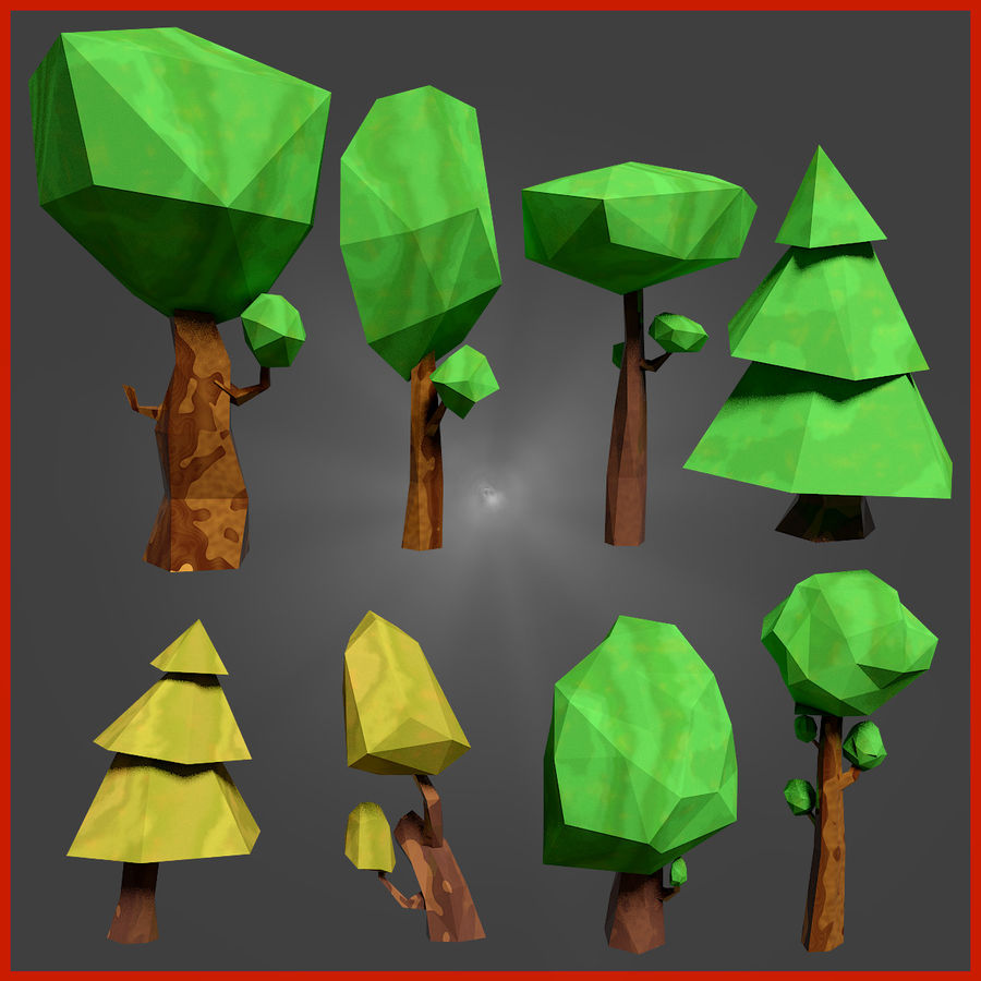 Low-Poly-Waldrucksack royalty-free 3d model - Preview no. 2