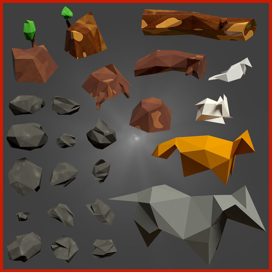Low-Poly-Waldrucksack royalty-free 3d model - Preview no. 4