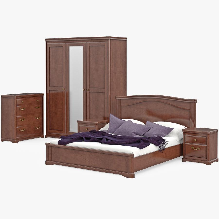 Placez les meubles en bois classiques pour le lit de chambre à ...