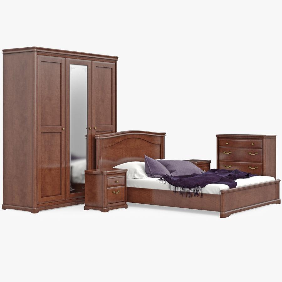 Placez les meubles en bois classiques pour le lit de chambre ...