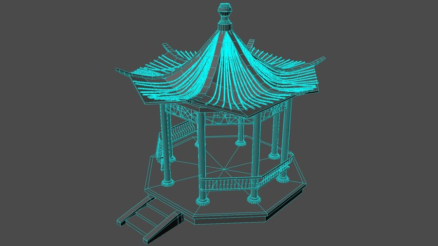 Architecture chinoise royalty-free 3d model - Preview no. 3