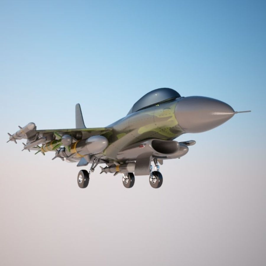 Fighter Aircraft royalty-free 3d model - Preview no. 6