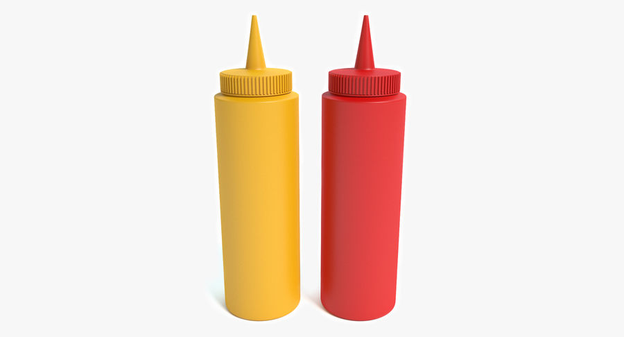 Mustard and Ketchup royalty-free 3d model - Preview no. 2