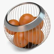 Fruit Basket with Oranges 3d model