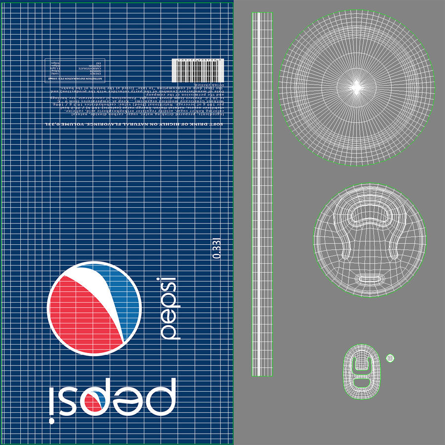 Aluminum Can 0.33L Pepsi royalty-free 3d model - Preview no. 16