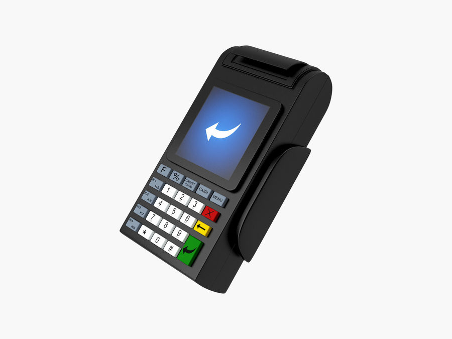 Credit Card Terminal royalty-free 3d model - Preview no. 1