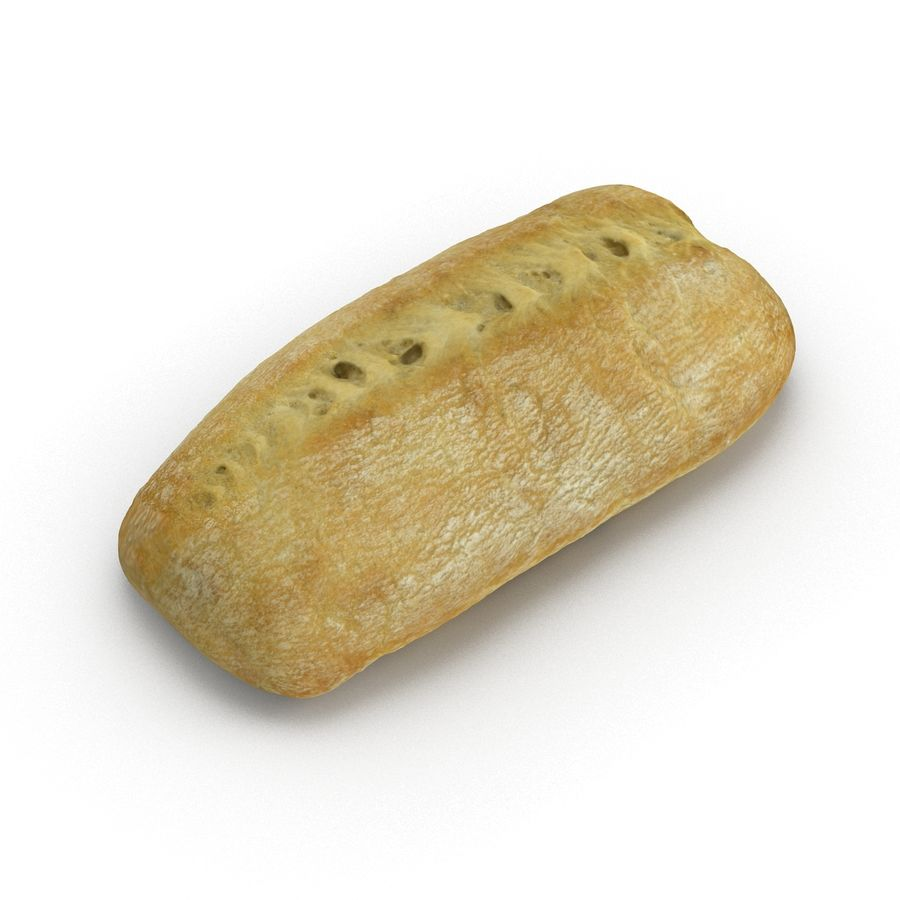Ciabatta Roll royalty-free 3d model - Preview no. 2