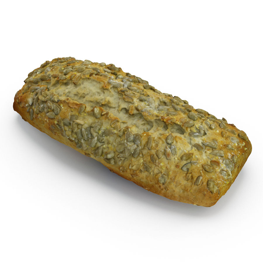 Seeded Bread Roll 02 royalty-free 3d model - Preview no. 3