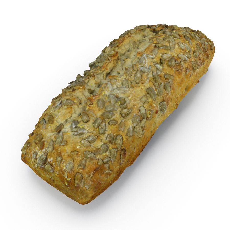 Seeded Bread Roll 02 royalty-free 3d model - Preview no. 4