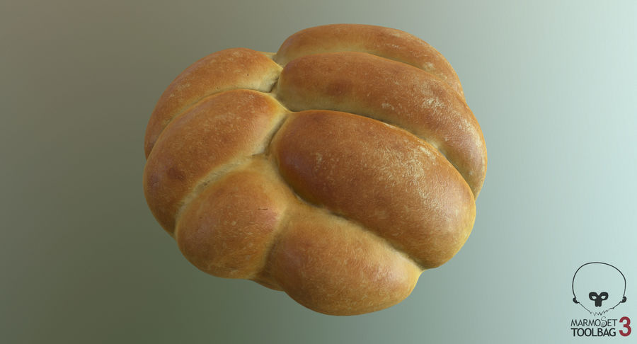 Bread Roll royalty-free 3d model - Preview no. 10