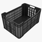 Plastic Crate 4 Black 3d model