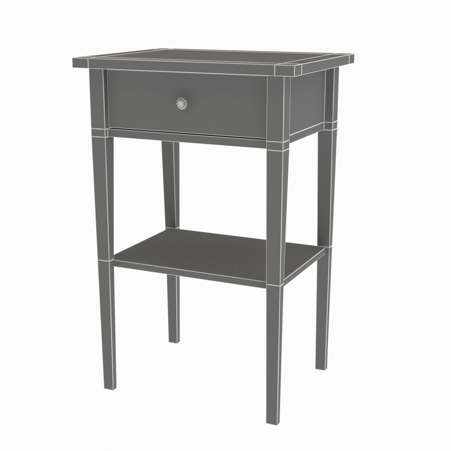 Hemnes Bedside Table royalty-free 3d model - Preview no. 5