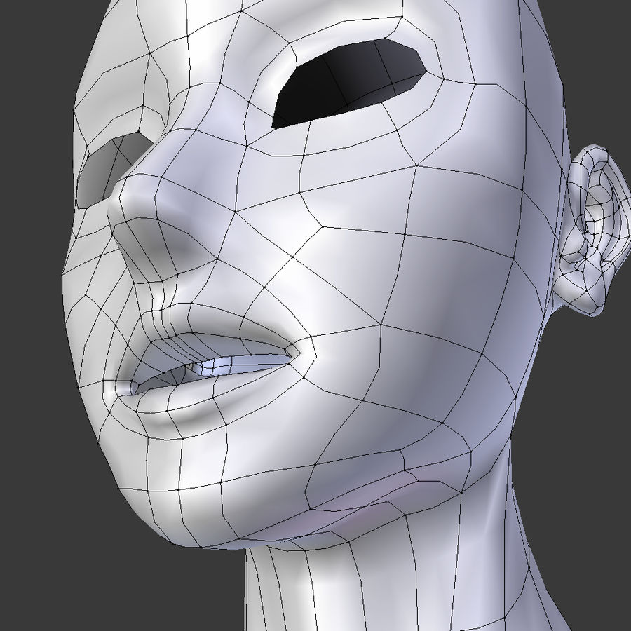 Tête de base basse en poly royalty-free 3d model - Preview no. 6