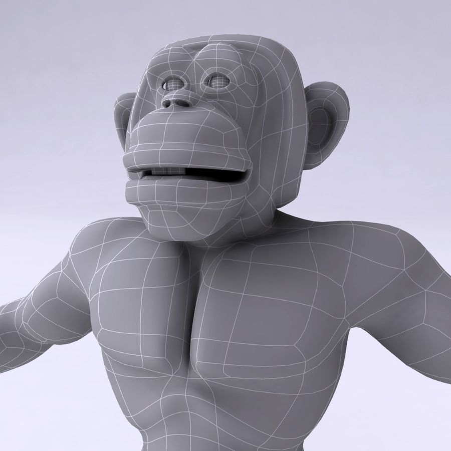 Cartoon Monkey royalty-free 3d model - Preview no. 14