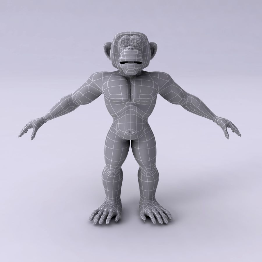 Cartoon Monkey royalty-free 3d model - Preview no. 11