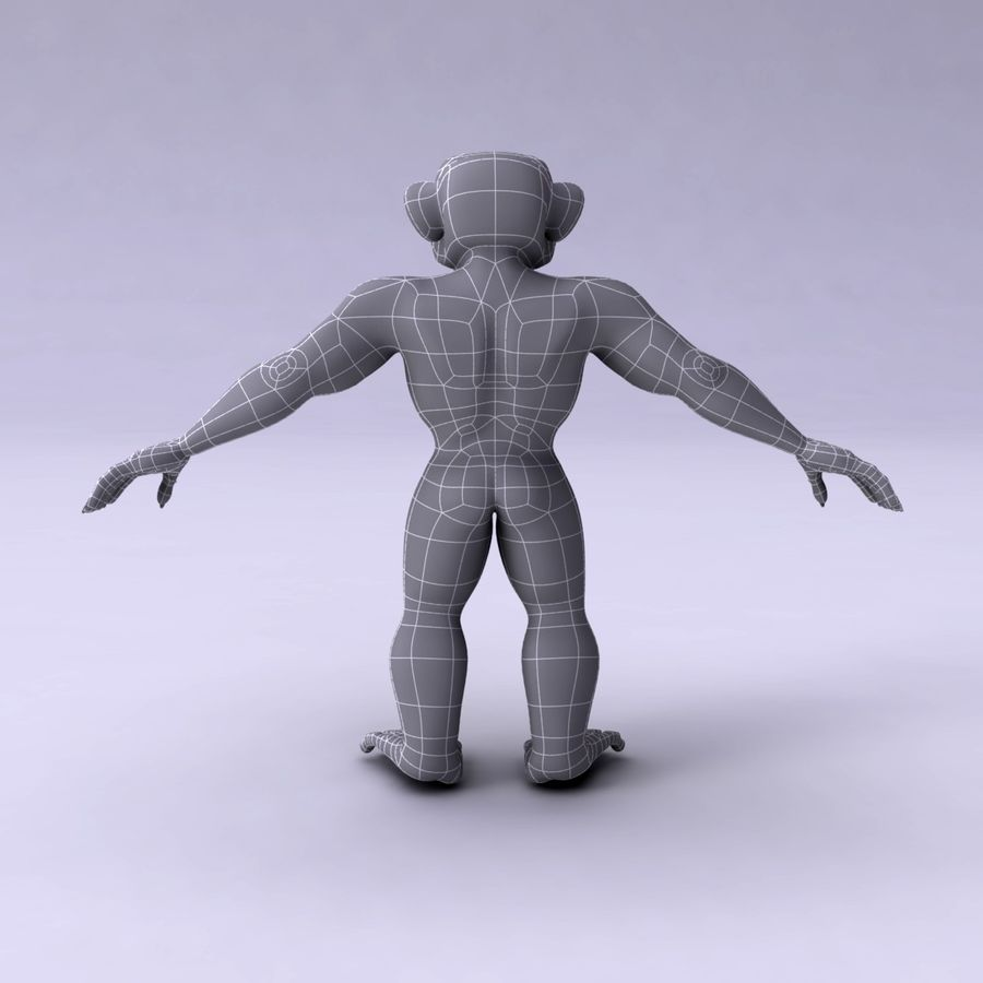 Cartoon Monkey royalty-free 3d model - Preview no. 13