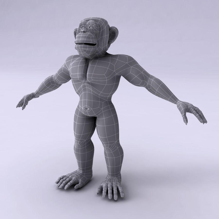 Cartoon Monkey royalty-free 3d model - Preview no. 12
