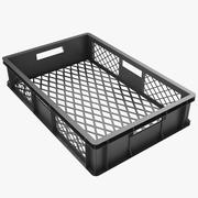 Plastic Crate 3 Black 3d model