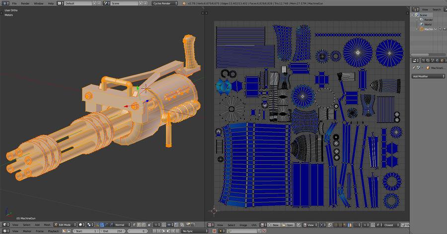 Machine gun royalty-free 3d model - Preview no. 11