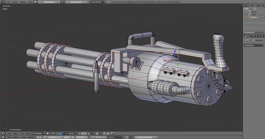 Machine gun royalty-free 3d model - Preview no. 6
