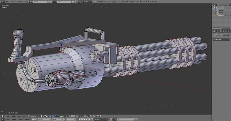 Machine gun royalty-free 3d model - Preview no. 9