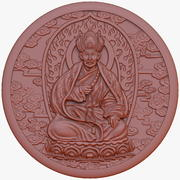 Buddhist monk medal bas relief 3d model
