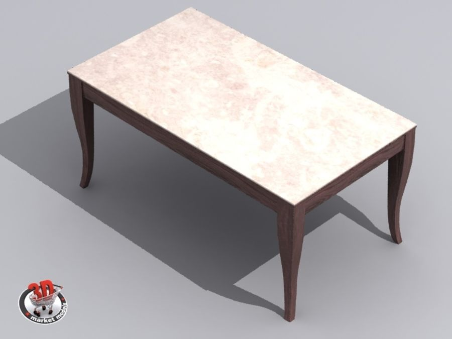 wood and marble table royalty-free 3d model - Preview no. 2
