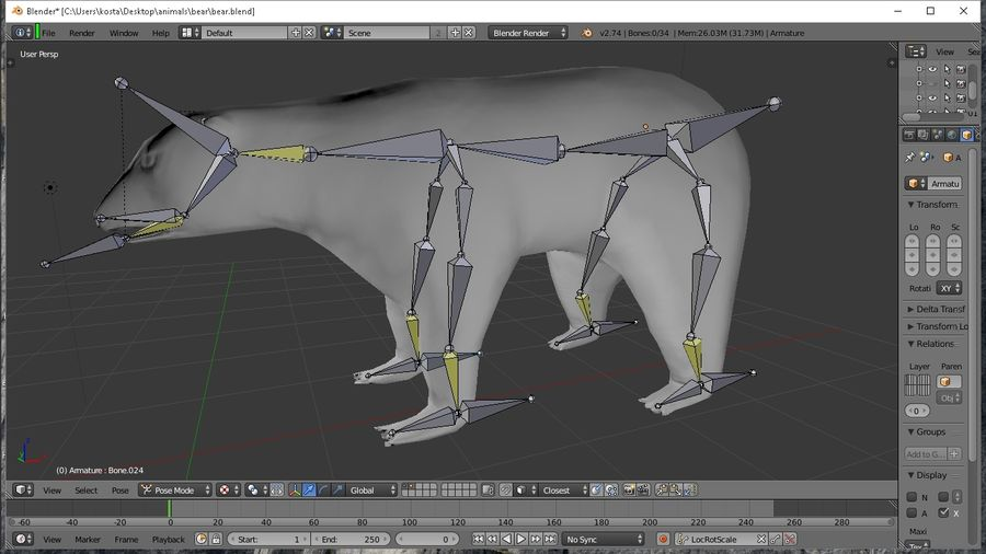 polar bear royalty-free 3d model - Preview no. 4