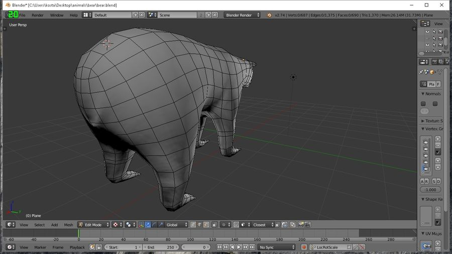 polar bear royalty-free 3d model - Preview no. 2