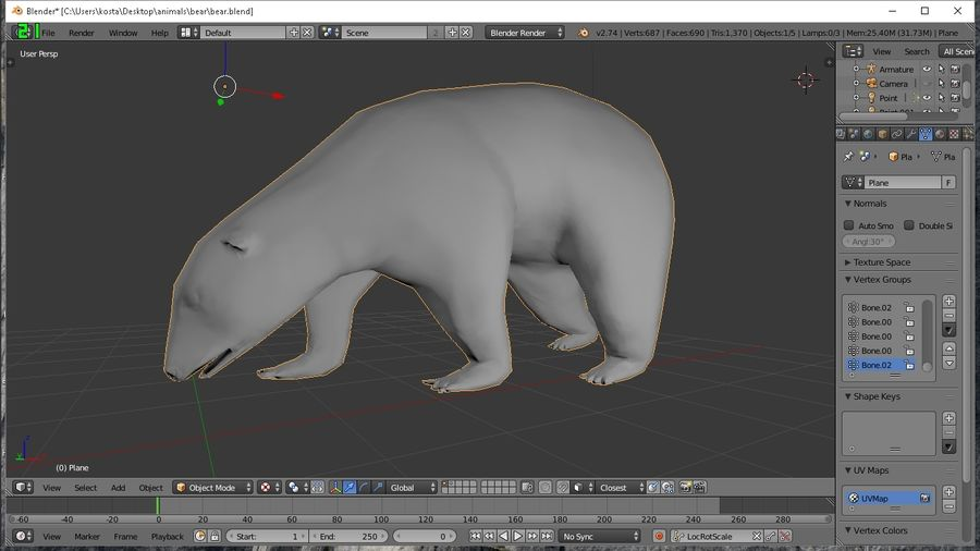 polar bear royalty-free 3d model - Preview no. 5