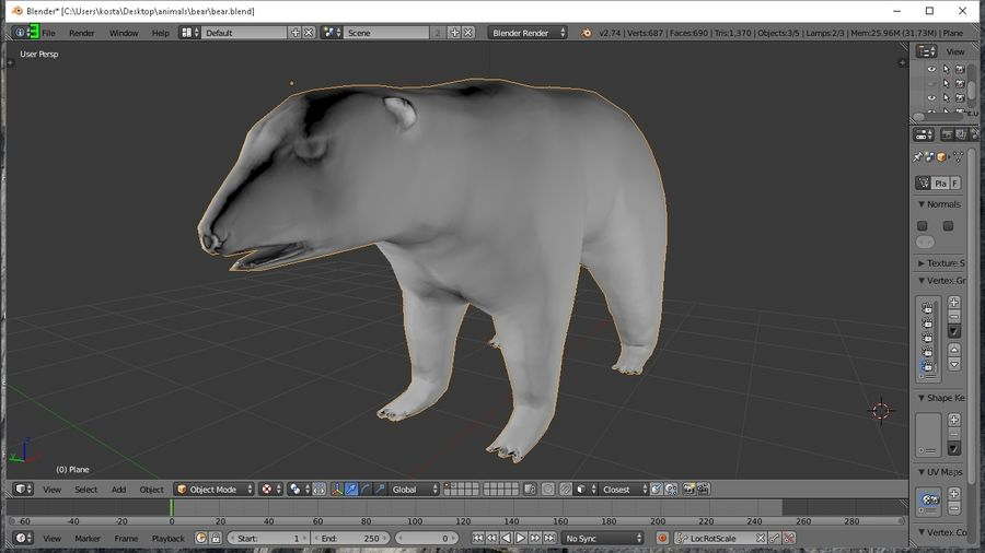 polar bear royalty-free 3d model - Preview no. 3