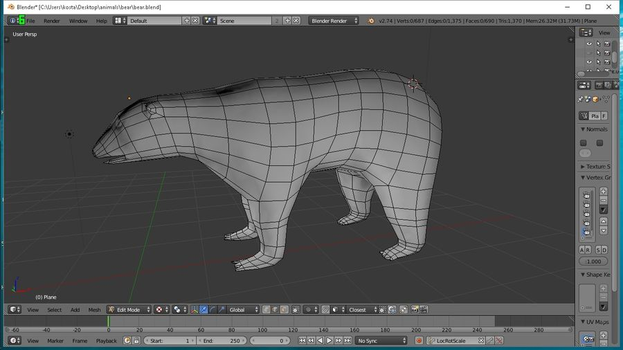 polar bear royalty-free 3d model - Preview no. 1