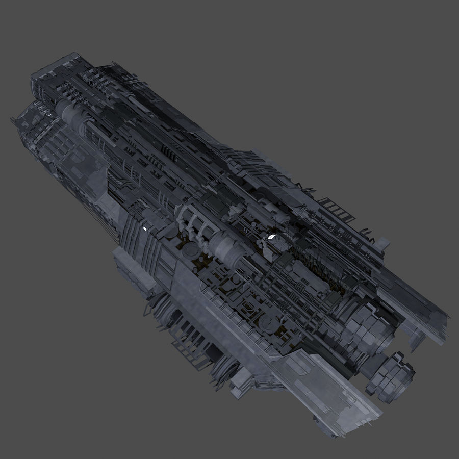 Sci Fi Large Spaceship 3 - Sci-Fi Futuristic Spacecraft Battleship Transport royalty-free 3d model - Preview no. 5