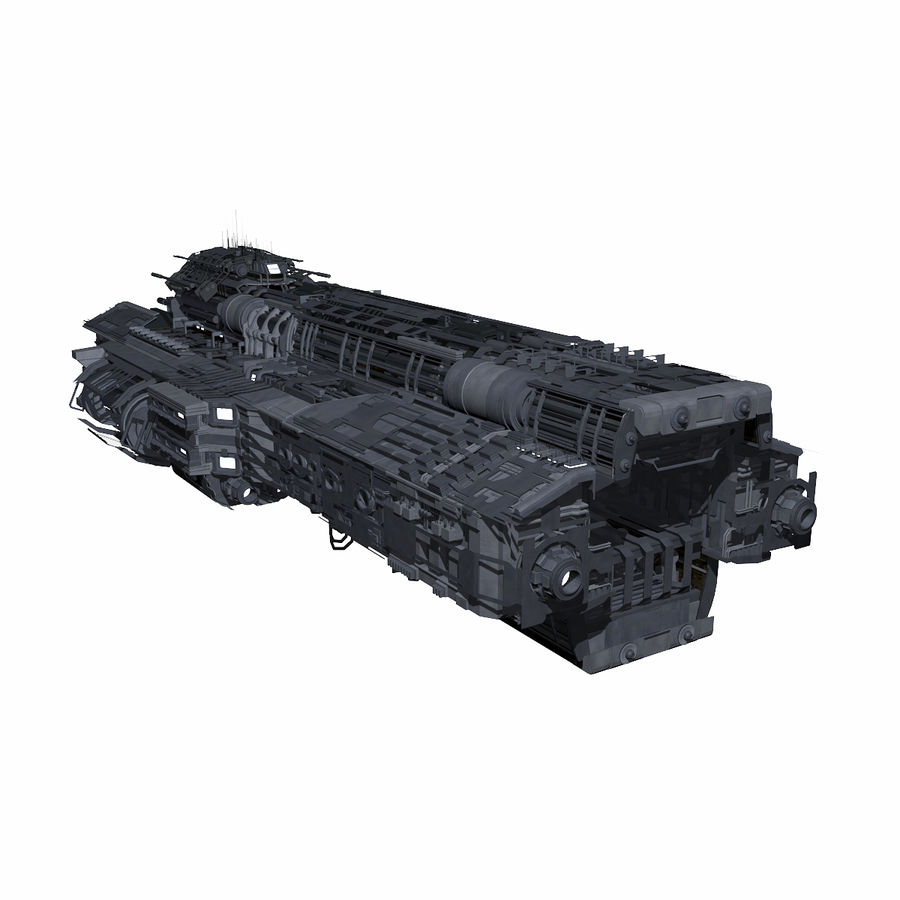 Sci Fi Large Spaceship 3 - Sci-Fi Futuristic Spacecraft Battleship Transport royalty-free 3d model - Preview no. 6