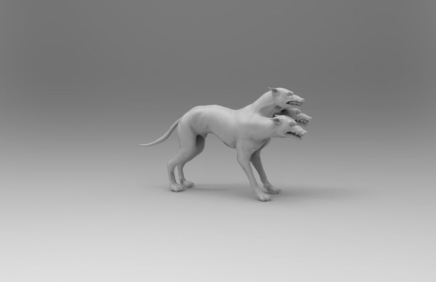 3 head dog royalty-free 3d model - Preview no. 5