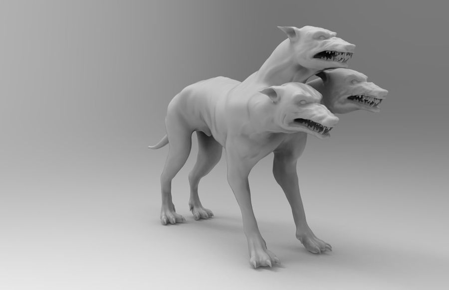 3 head dog royalty-free 3d model - Preview no. 1