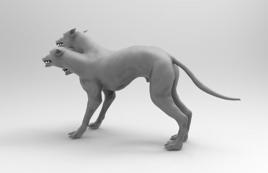 3 head dog royalty-free 3d model - Preview no. 2