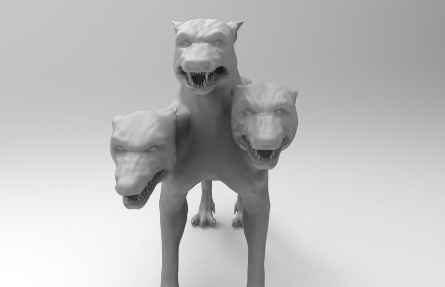 3 head dog royalty-free 3d model - Preview no. 3