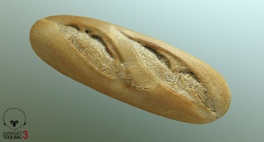 Baguette royalty-free 3d model - Preview no. 9