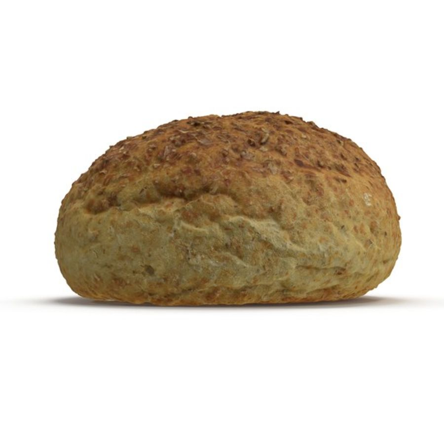 Brown Bread Roll royalty-free 3d model - Preview no. 3