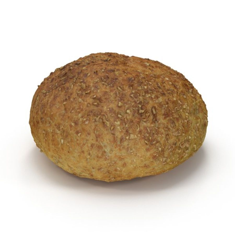 Brown Bread Roll royalty-free 3d model - Preview no. 2